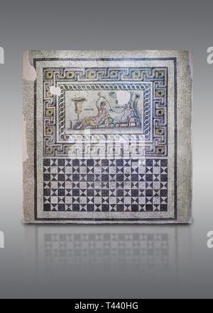 Roman mosaics. The Acratos & Eljprocvne Mosaic from The House of Maenad Zeugma.  2nd - 3rd century AD. Zeugma Mosaic Museum, Gaziantep, Turkey. - Stock Photo