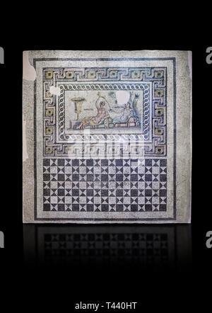 Roman mosaics. The Acratos & Eljprocvne Mosaic from The House of Maenad Zeugma.  2nd - 3rd century AD. Zeugma Mosaic Museum, Gaziantep, Turkey.   Agai - Stock Photo