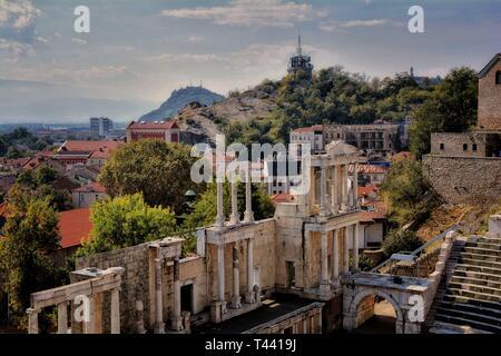 The Ancient Roman theatre in Plovdiv, Bulgaria - Stock Photo