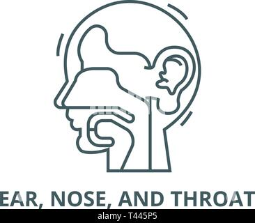 Ear, nose, and throat,ent line icon, vector. Ear, nose, and throat,ent outline sign, concept symbol, flat illustration - Stock Photo