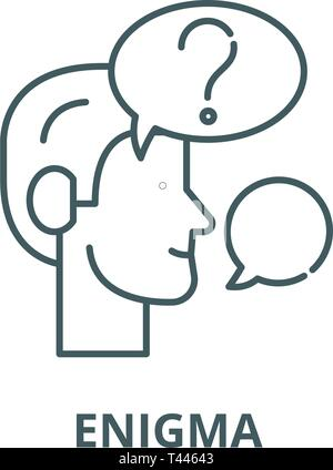 Enigma line icon, vector. Enigma outline sign, concept symbol, flat illustration - Stock Photo