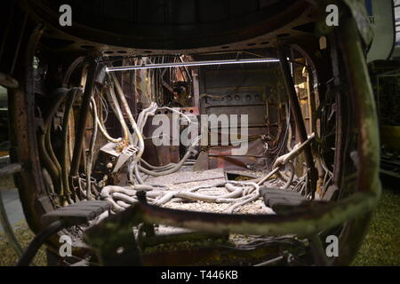 The wreckage of a Halifax W1048 aircraft, recovered from Lake Hoklingen in Norway, on display at the RAF Museum, London, UK - Stock Photo