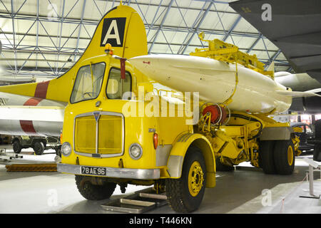 Hawker Sidley Blue Steel air-to-surface missile displayed on a mandator carrier, at the RAF Museum, London, UK - Stock Photo