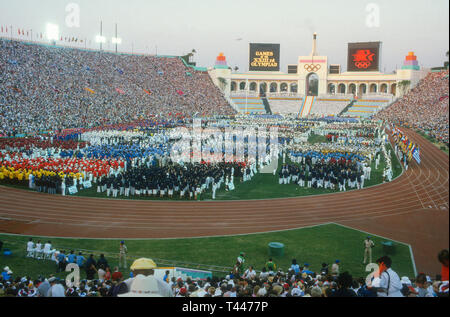 Summer Olympics in Los Angeles 1984 Opening Ceremony with filled stands - Stock Photo
