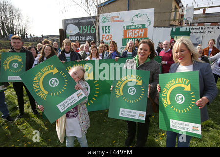 Aoibhe Clarke (left) gand daughter of late Irish Republican Terence 'Cleeky' Clarke, joins Sinn Fein's President Mary Lou McDonald and Vice President Mivhelle O'Neill for the launch of the Irish Unity Billboard in west Belfast, Saturday April 13th, 2019. Terence 'Cleeky' Clarke was Gerry Adam's body guard and passed away with cancer. The Launch took place at the former Andersonstown Police Station. Photo/Paul McErlane