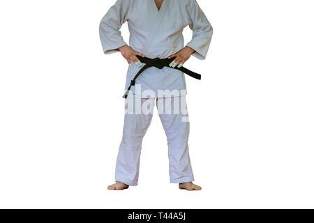 judoka in white kimono and black belt isolated on white background
