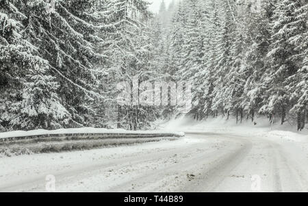 Forest road covered with snow during winter blizzard snowstorm, trees on both sides. Dangerous driving conditions - Stock Photo