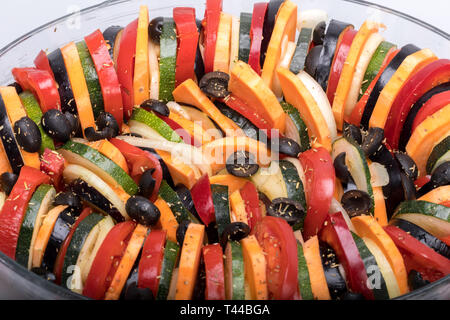 Ratatouille, French Provençal stewed vegetable dish originating in Nice - Stock Photo