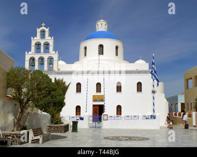 The Church of Panagia of Platsani on Caldera Square, Oia Village, Santorini Island, Greece - Stock Photo