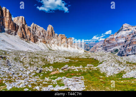 Dolomites. Panorama on the peaks of the Cortina valley. Lagazuoi, Tofane, Cinque Torri, Nuvolau, Marmolada and Odle. Dream. Italy. - Stock Photo