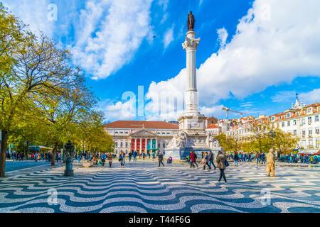 Lisbon, Portugal - March 18, 2018: Rossio Square, Lisbon, Portugal - Stock Photo