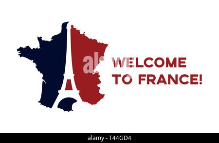 Poster Welcome to France. France map painted in the colors of the flag with the silhouette of the Eiffel Tower. - Stock Photo
