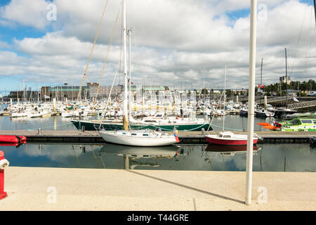 Cherbourg-Octeville, France - August 21, 2018: The marina of the Port Chantereyne at Cherbourg. Cherbourg-Octeville, Lower Normandy, France - Stock Photo