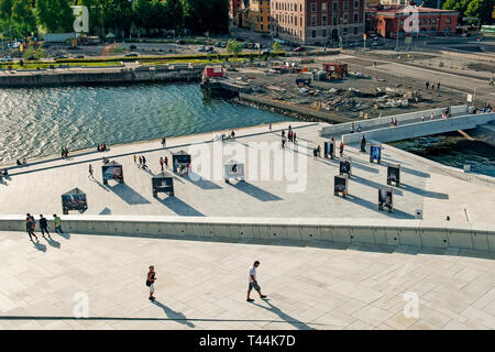 Norway, Oslo August 1, 2013: Beautiful city view of modern buildings in Oslo from the waterfront Opera house. Editorial - Stock Photo
