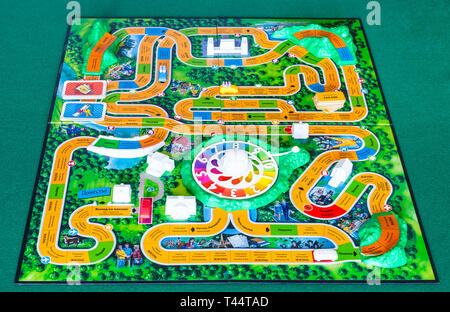 MOSCOW, RUSSIA - APRIL 3, 2019: playfield of The Game of Life board game. This board game was created in 1860 by Milton Bradley, the modern version wa - Stock Photo