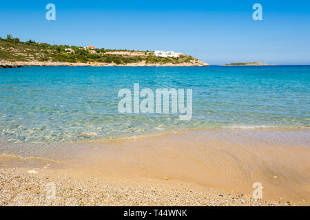 Marathi beach with fine sand and shallow calm water. West Crete, Greece - Stock Photo