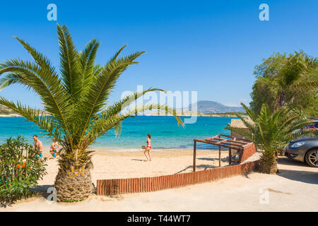 CRETE, GREECE - May 1,2015: Marathi beach with fine sand and shallow calm water. West Crete, Greece - Stock Photo