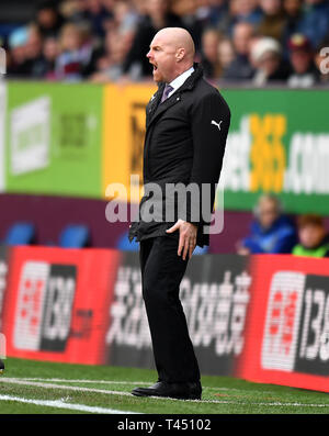 Burnley manager Sean Dyche during the Premier League match at Turf Moor, Burnley. - Stock Photo