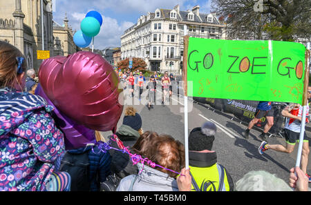 Brighton, Sussex, UK. 14th Apr, 2019. Thousands of runners and spectators taking part in this years Brighton Marathon which is celebrating its 10th anniversary Credit: Simon Dack/Alamy Live News - Stock Photo