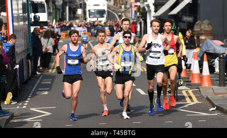 Brighton, Sussex, UK. 14th Apr, 2019. The early leaders in this years Brighton Marathon which is celebrating its 10th anniversary Credit: Simon Dack/Alamy Live News - Stock Photo