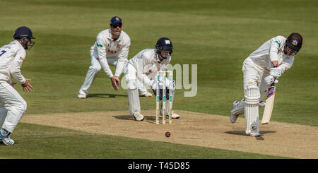 London, UK. 14 April, 2019. Rory Biurns batting as Surrey take on Essex on the final day of the Specsavers County Championship match at the Kia Oval. David Rowe/ Alamy Live News - Stock Photo