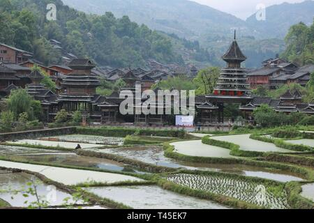 Liping, China. 14th Apr, 2019. Photo taken on April 14, 2019 shows the Dong village of Zhaoxing, Liping County, southwest China's Guizhou Province. Credit: Ou Dongqu/Xinhua/Alamy Live News - Stock Photo