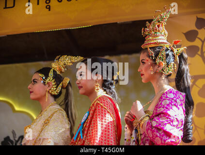 London  UK 14 April 2019 Contestans of the beauty pagent celebrated in the Thai Temple in Wimbledon as part of the celebratiosn of New Year 2019 @Paul Quezada-Neiman/Alamy Live News - Stock Photo