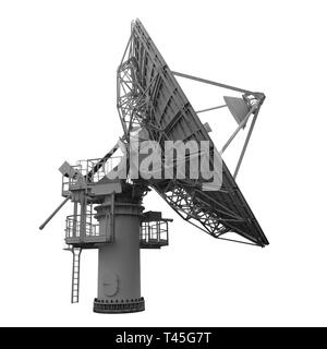 Parabolic dish antenna for satellite communications and telecommunications side view isolated on white - Stock Photo