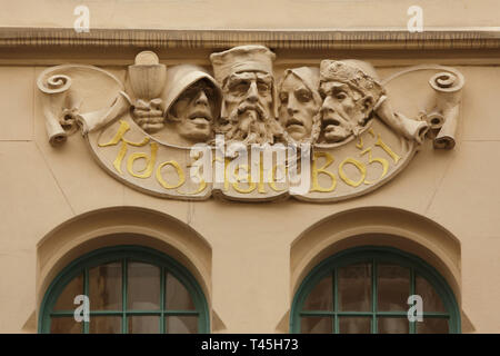 Hussites depicted in the stucco decoration on the dwelling house in Široká Street in Josefov (Jewish Quarter) in Prague, Czech Republic. - Stock Photo
