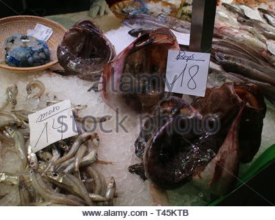Seafood for Sale at the Mercat del Lleo in Girona Spain - Stock Photo