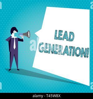 Text sign showing Lead Generation. Business photo text process identifying and cultivating potential customers Businessman Shouting on Megaphone and B - Stock Photo