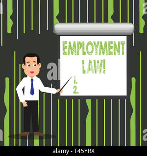 Handwriting text writing Employment Law. Conceptual photo encompassing all areas of employer employee relationship Man in Necktie Talking Holding Stic - Stock Photo