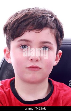 moody young boy, childhood - Stock Photo