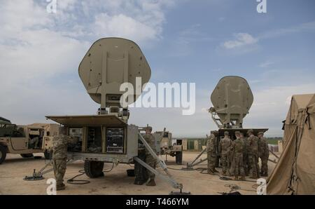 U.S. Army soldiers from Bravo Battery, 2nd Air Defense Artillery Regiment, 11th Air Defense Artillery Brigade, prepare equipment at the THAAD site, Israel, March 4, 2019.  The deployment of a THAAD System to Israel is an exercise involving U.S. Army, U.S. Air Force and Israeli forces, under the Dynamic Force Employment concept. The exercise builds readiness and interoperability in the region, demonstrates the U.S. capability to rapidly deploy air defense assets globally, and demonstrates U.S. Army Europe's mission to deter potential adversaries and support allies. - Stock Photo
