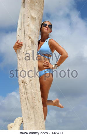 woman wearing blue bikini leaning on white trunk - Stock Photo