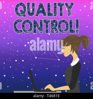 Handwriting text Quality Control. Conceptual photo system of maintaining standards in analysisufactured products photo of Young Busy Woman Sitting Sid - Stock Photo
