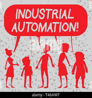 Word writing text Industrial Automation. Business photo showcasing Use of control systems to handle industrial process Silhouette Figure of People Tal - Stock Photo