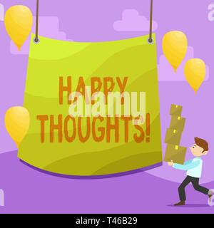 Handwriting text writing Happy Thoughts. Conceptual photo good idea opinion produced by thinking or occurring mind Man Carrying Pile of Boxes with Bla - Stock Photo