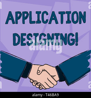 Handwriting text Application Designing. Conceptual photo develops software based on the specific needs Businessmen Shaking Hands Firmly as Gesture For - Stock Photo