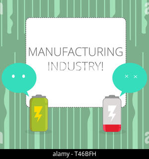 Word writing text Manufacturing Industry. Business photo showcasing Engage in the transformation of goods and products Fully Charged and Discharged Ba - Stock Photo