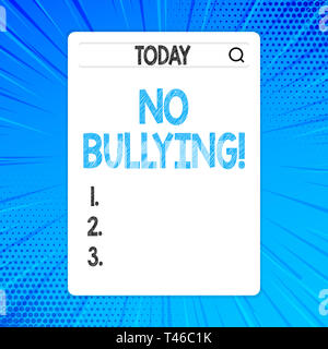 Writing note showing No Bullying. Business concept for stop aggressive behavior among children power imbalance Search Bar with Magnifying Glass Icon p - Stock Photo