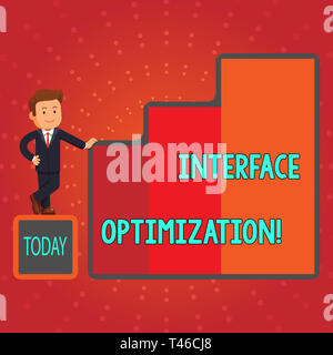 Writing note showing Interface Optimization. Business concept for most effective design which user may interact Businessman Presenting Growth and Succ - Stock Photo