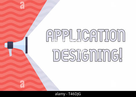 Handwriting text Application Designing. Conceptual photo develops software based on the specific needs Megaphone Extending the Capacity of Volume Rang - Stock Photo