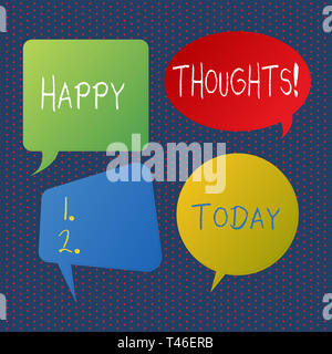 Handwriting text writing Happy Thoughts. Conceptual photo good idea opinion produced by thinking or occurring mind Blank Speech Bubble Sticker in Diff - Stock Photo