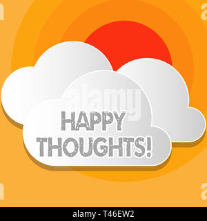 Writing note showing Happy Thoughts. Business concept for good idea opinion produced by thinking or occurring mind White Clouds Cut Out of Board Float - Stock Photo