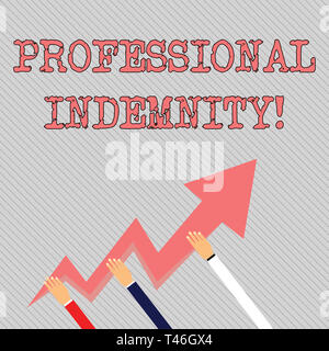 Text sign showing Professional Indemnity  Business photo showcasing