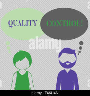 Text sign showing Quality Control. Business photo showcasing system of maintaining standards in analysisufactured products Bearded Man and Woman Facel - Stock Photo