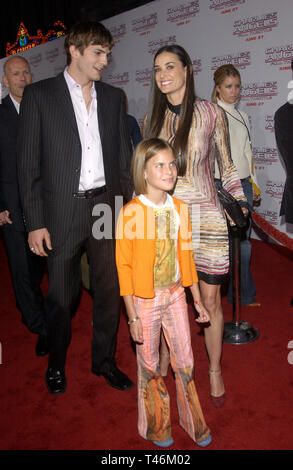 LOS ANGELES, CA. June 18, 2003: Actor ASHTON KUTCHER with girlfriend actress DEMI MOORE & her children at the Hollywood premiere of her new movie Charlie's Angels: Full Throttle. - Stock Photo