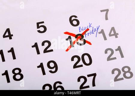 Superstition: Mark on the calendar - Friday 13 - Black Friday - Stock Photo