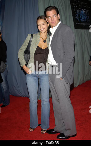 LOS ANGELES, CA. March 31, 2003: Actress JESSICA ALBA & actor boyfriend MICHAEL WEATHERLY at the world premiere of Ghosts of the Abyss at the Universal Citywalk IMAX. The movie is director James Cameron's 3D IMAX exploration of the Titanic. - Stock Photo